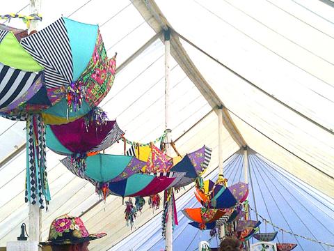 Secret Emporium at Secret Garden Party Umbrellas decorations photo by Maria Papadimitriou