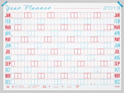 2013 wall planner calendar