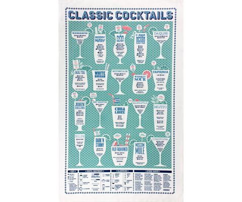 Classic Cocktails tea towel by Stuart Gardiner