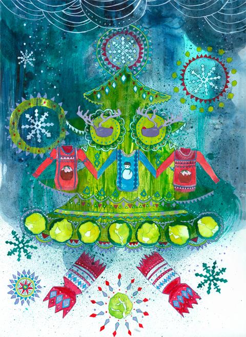 Dog is Dead - Wonderful Christmastime Music Illustration by Sharon Farrow