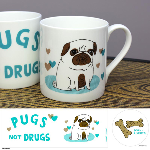 Gemma Correll pugs not drugs mug