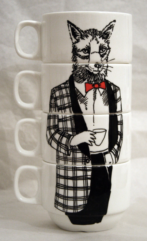 Jim Bob art Mr Fox coffee cups