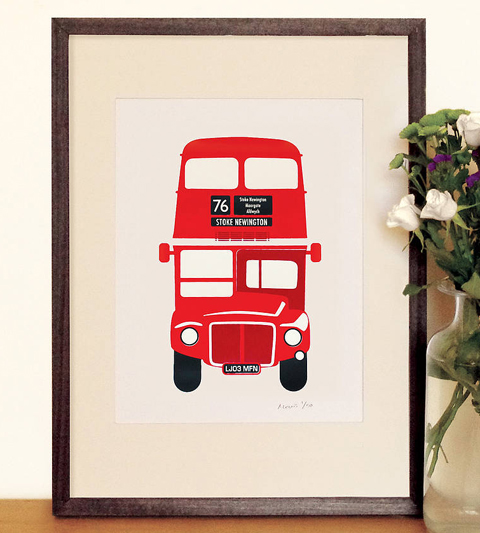 Made by Morris red bus print