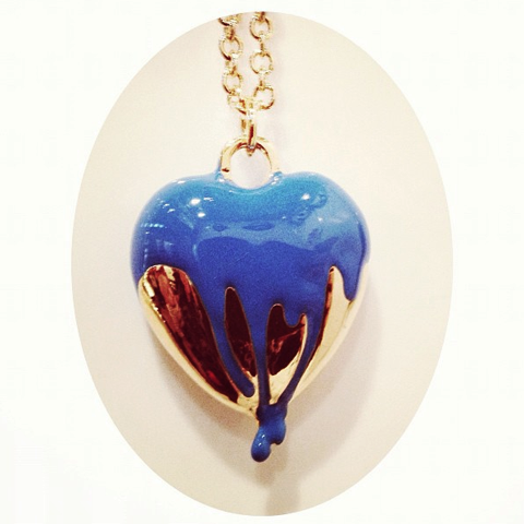 Me and Zena paint splash heart saatchi necklace