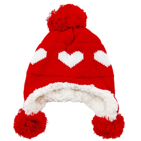 chelsea doll Red Heart Bobble Trapper Hat