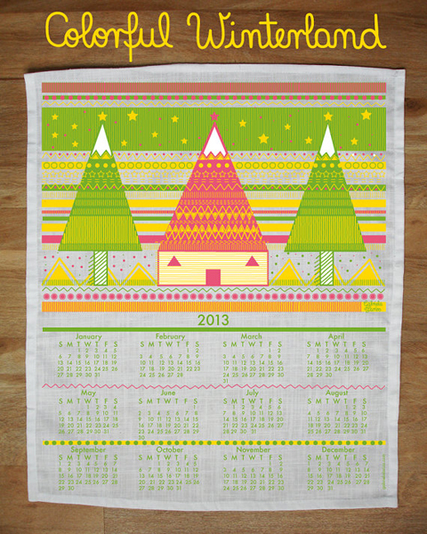 colorful winterland calendar tea towel