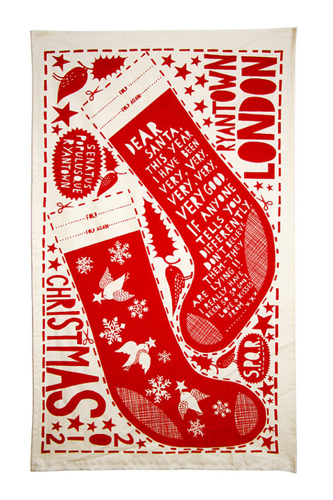 dear santa rob ryan tea towel