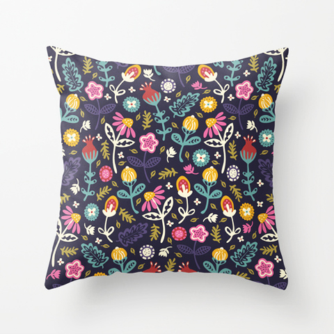 poppy and red ditsy flower cushion