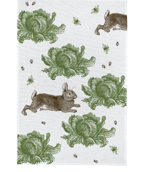 thornback and peel rabbit cabbages tea towel