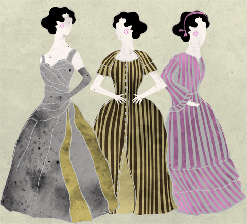 3 dresses at Fashion Museum, Bath