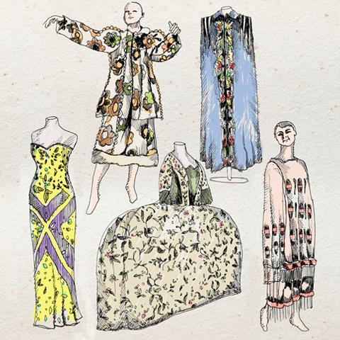 5 dresses at 50 Fabulous Frocks exhibition, Fashion Museum, Bath