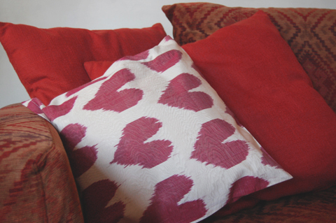 Made & Told heart ikat cushion