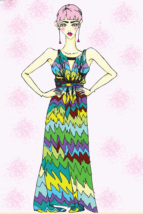 Matthew Williamson multi coloured column digital blossom jersey dress by Shy Illustrations