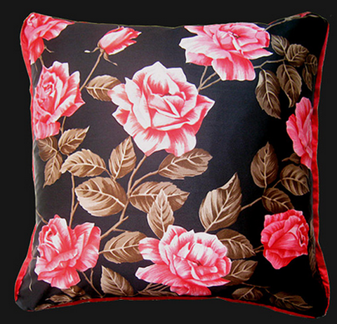 Nichollette Yardley-Moore vintage silk scarf Rose cushion