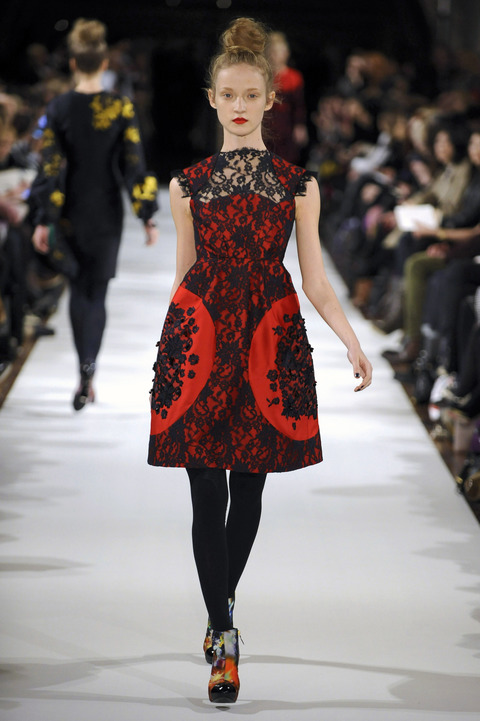 Red lace Erdem Dress on Catwalk