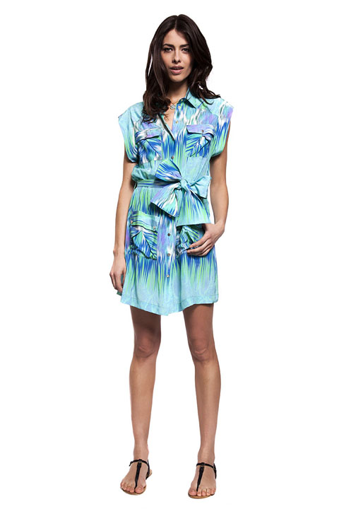 Style Passport Matthew Williamson silk print utility dress blue