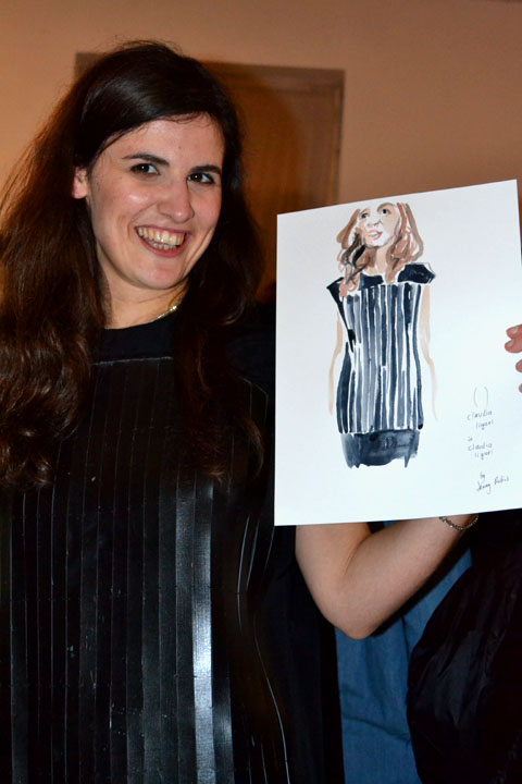 claudia ligari wearing herself - lfw - aw13 - jenny robins - amelias magazine