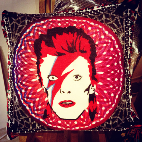 David Bowie cushion - Circus Matt Manson