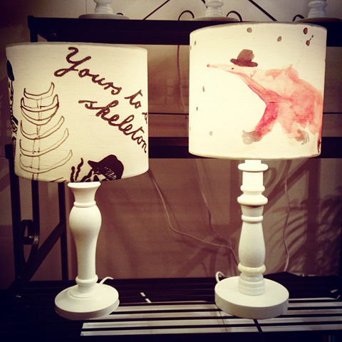 Inky Shades anteater lampshade
