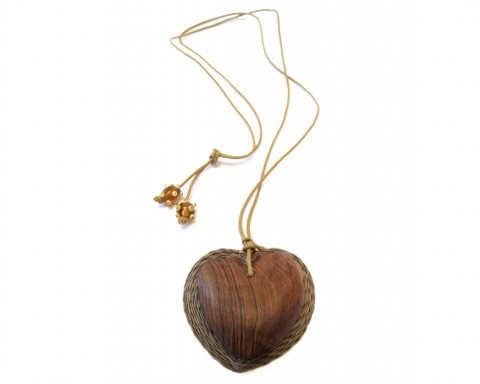 Tintsaba Heart Pendant Wood and sisal