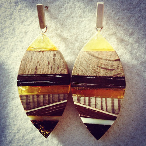 Amberwood jewelery earrings by Marta Wlodarska