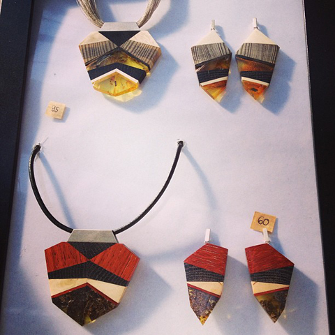 Amberwood jewellery by Marta Wlodarska matching pendants