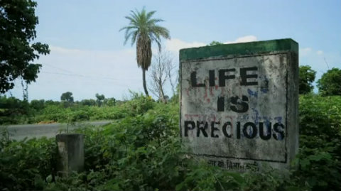 Life Is Precious sign from Dirty White Gold