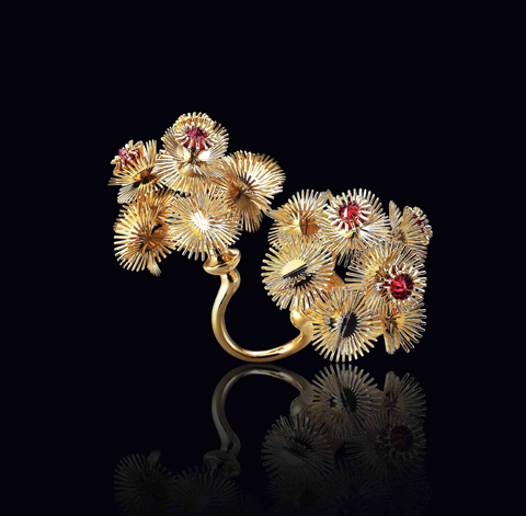 Multiplicity jewellery for a visual movement, Brass, 14k Gold Plated, garnet CZ by Byulna yoo