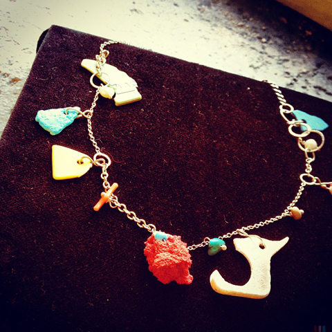 Pretty necklace of found objects by Sarah Drew with ecoluxe london