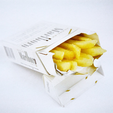 Fast food as addiction- Smoking Chips by Sunkyoung Lee