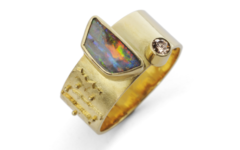 michele white gold opal ring
