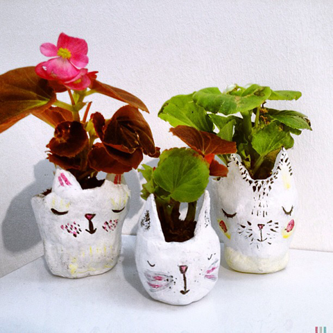 Also by Emily Knight at cambridge schoolofart pottery cat plant pots