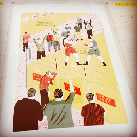 Boxing match print by Matthew Booker at Kingston Uni