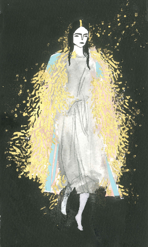 Rachel Greig tinsel coat by Emma Shoard