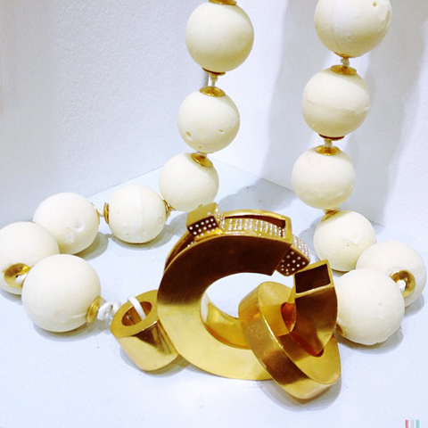 Giant white chocolate pearls by Kirsty Isla Nicholson