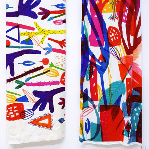 Printed textiles by Louise Brynes