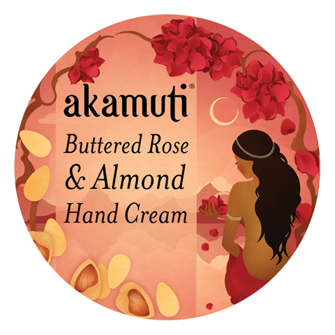 akamuti-buttered rose and almond hand cream-label by jenny Lloyd