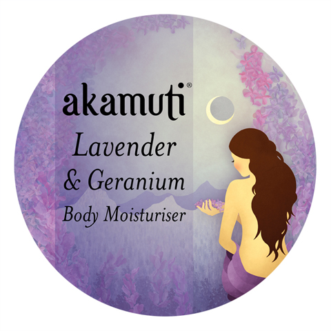 akamuti-lavender and geranium body moisturiser-label by jenny Lloyd