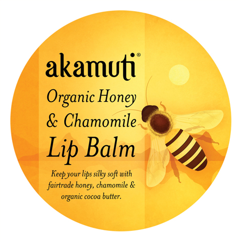 akamuti-organic honey and chamomile lip balm-label by jenny Lloyd