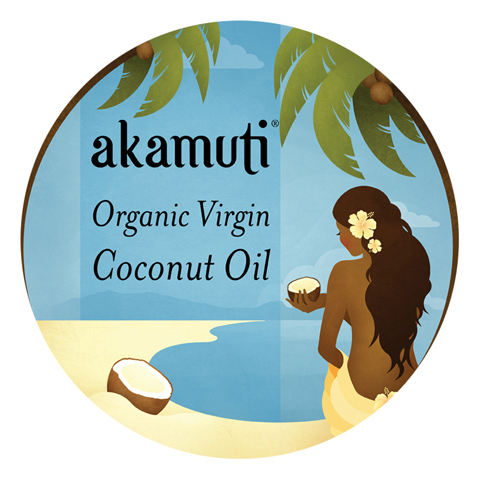 akamuti-organic virgin coconut oil-label by jenny Lloyd