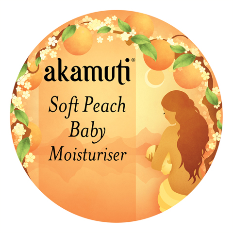 akamuti-soft peach baby moisturiser-label by jenny Lloyd