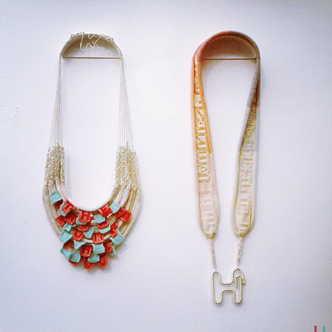 beaded knitted fringed necklaces by HannaBalloo