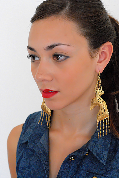 Annabelle Lucilla Jewllery, Gold Oriental Peacock Earrings