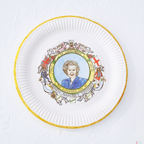 Maggie Thatcher decorative paper plate by Emma Harrison