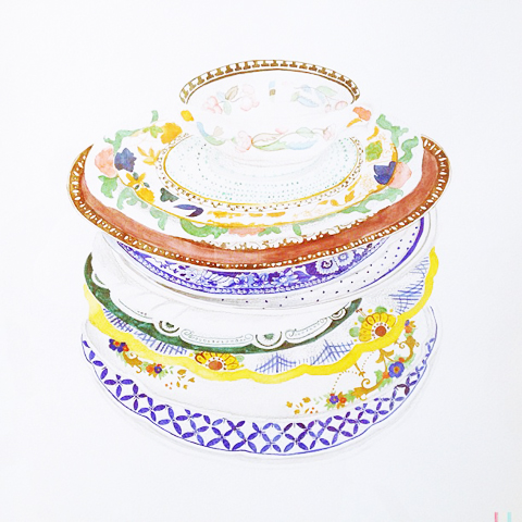 Watercolour plate stack by Becca Corney