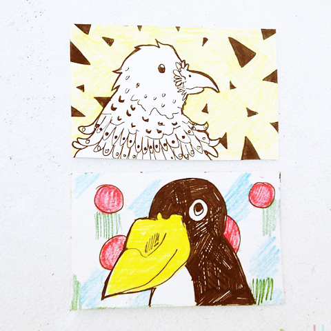 bird business cards by Katie Macon