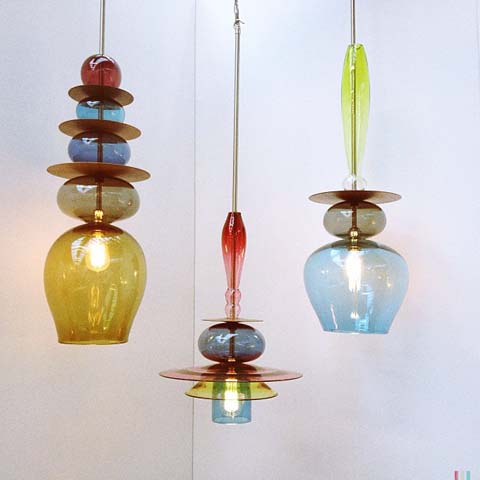 Blown glass pendant lights - curiousa and curiousa