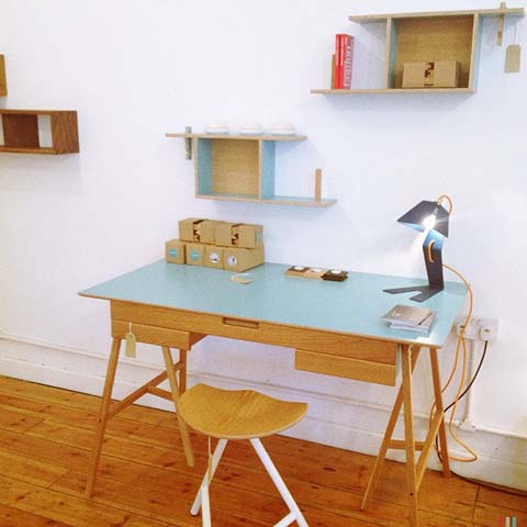 Formica and oak desk by James Tattersall