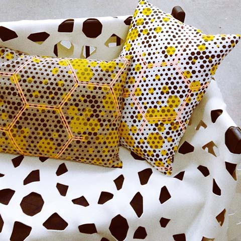 Honeycomb geometric print cushions from Room 39