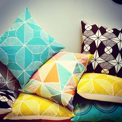 Tent London Sian Elin Thomas abstract cushions